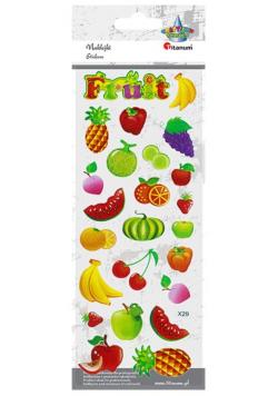 Naklejki wypukłe miękkie owoce 24szt