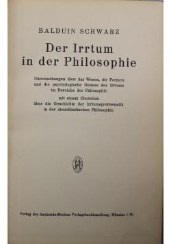 Der Irrtum in der Philosophie 1934 r
