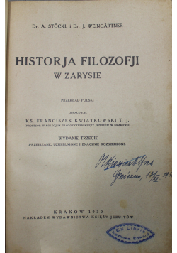 Historja Filozofji w Zarysie 1930 r