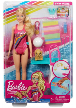 Barbie Zestaw Lalka pływaczka z pieskiem