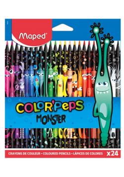 Kredki Colorpeps Monster trójkątne 24 kol MAPED