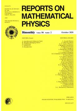 Reports on Mathematical Physics 86/2 Pergamon