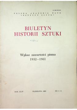 Biuletyn historii sztuki Wykaz zawartości pism 1932 - 1981 nr 1 - 4