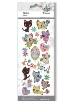 Naklejki wypukłe miękkie koty, serca, kwiaty 20szt