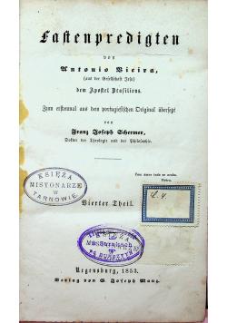 Fastenpredigten Bierter Theil 1853 r.