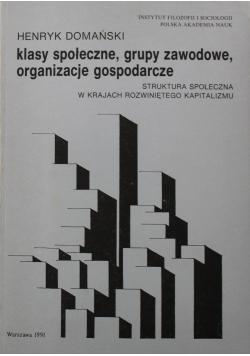 Klasy społeczne Grupy zawodowe Organizacje gospodarcze Struktura społeczna w krajach rozwiniętego kapitalizmu