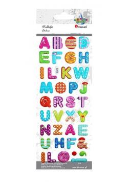 Naklejki wypukłe miękkie alfabet 38szt