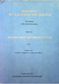 Materiały do nauczania psychologii,metody badań psychologicznych