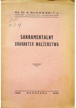 Sakramentalny charakter małżeństwa 1934 r
