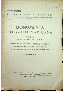 Monumenta Poloniae Vaticana Tomus VII 1950 r.