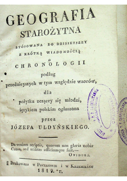 Geografia Starożytna 1819 r