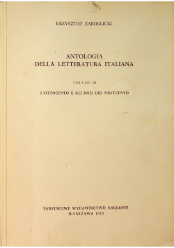 Antologia Della Letteratura Italiana Volume III