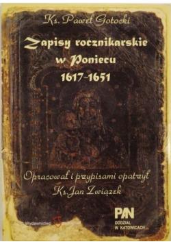 Zapisy rocznikarskie w Poniecu 1617 - 1651
