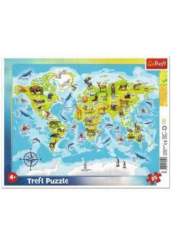 Puzzle ramkowe 25 Mapa świata ze zwierzętami TREFL