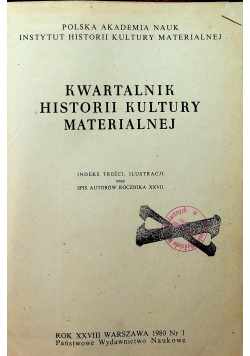 Kwartalnik Historii Kultury Materialnej Nr 1 do 4