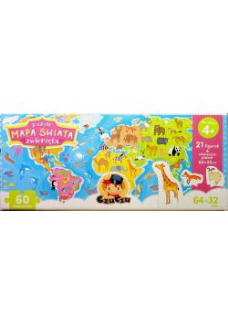 Puzzle Mapa świata Zwierzęta figurki NOWA