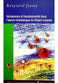 Immanence et transtextualite dans l oeuvre romanesque de Robert Lalonde