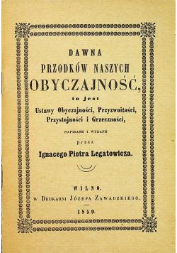 Dawna przodków naszych obyczajność reprint z 1859 r