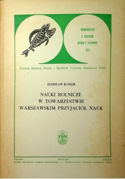 Nauki rolnicze w towarzystwie warszawskim przyjaciół nauk