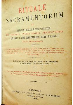 Rituale Sacramentorum Cracoviae 1892r