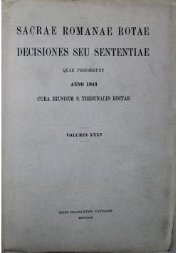 Sacrae Romanae Rotae Decisiones Seu Sententiae anno 1943 Volumen XXXV