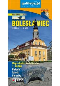 Plan miasta - Bolesławiec i okolice 1:9 500