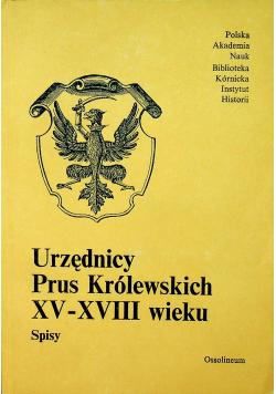 Urzędnicy Prus Królewskich XV XVIII wieku Spisy