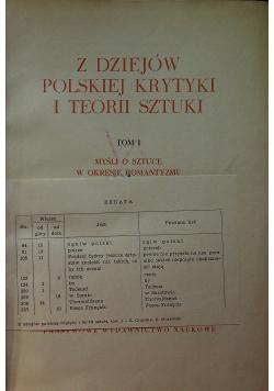 Z dziejów Polskiej krytyki i teorii sztuki Tom I
