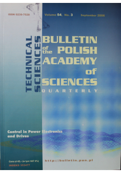 Bulletin of the Polish Academy of Sciences Technical Sciences Vol 54 No 3
