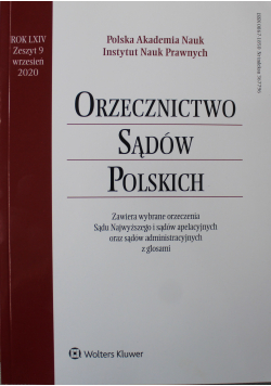 Orzecznictwo Sądów Polskich Rok LXIV Zeszyt 9
