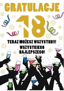 Karnet Party naklejany B6+koperta Urodziny 18 wz16