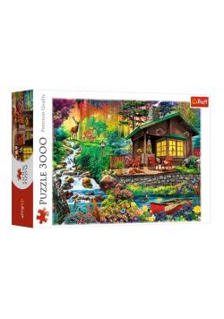 Puzzle 3000 Chatka w lesie TREFL