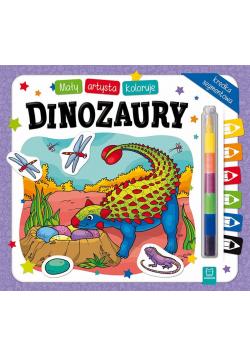 Mały artysta koloruje dinozaury
