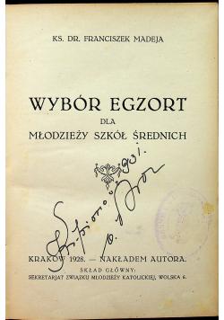 Wybór egzort dla młodzieży szkół średnich 1928 r.