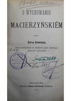 O wychowaniu Macierzyńskiem 1881 r.