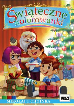 Świąteczne kolorowanki Mikołaj i choinka