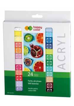 Farby akrylowe 12ml 24 kolory HAPPY COLOR