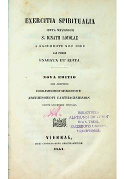 Exercitia Spiritualia 1851 r