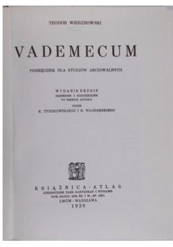 Vademecum Podręcznik dla studiów archiwalnych 1926r.