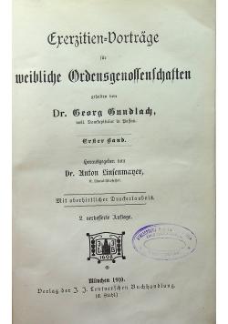 Frerzitien Dprtrage fur meibliche ordensgenossenschften 1910 r