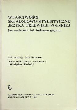 Właściwości składniowo stylistyczne języka telewizji polskiej