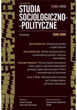 Studia Socjologiczno-Polityczne... nr 1(08)/2018