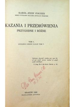 Kazania i przemówienia przygodne i różne 1929 r.