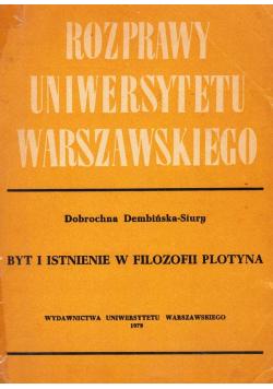 Rozprawy Uniwersytetu Warszawskiego Byt i istnienie w filozofii Plotyna
