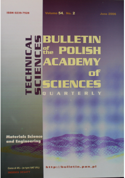 Bulletin of the Polish Academy of Sciences Technical Sciences Vol 54 No 2
