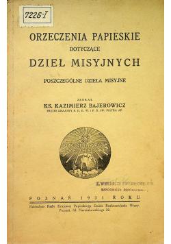 Orzeczenia papieskie dotyczące dzieł misyjnych 1931 r.