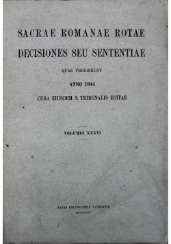 Sacrae Romanae Rotae Decisiones seu sententiae tom XXXVI 1944 r.