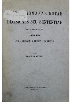 Sacrae Romanae Rotae Decisiones Seu Sententiae Tom 38  1946 r.