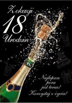 Karnet Party naklejany B6+koperta Urodziny 18 wz12