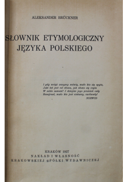 Słownik etymologiczny języka polskiego 1927 r